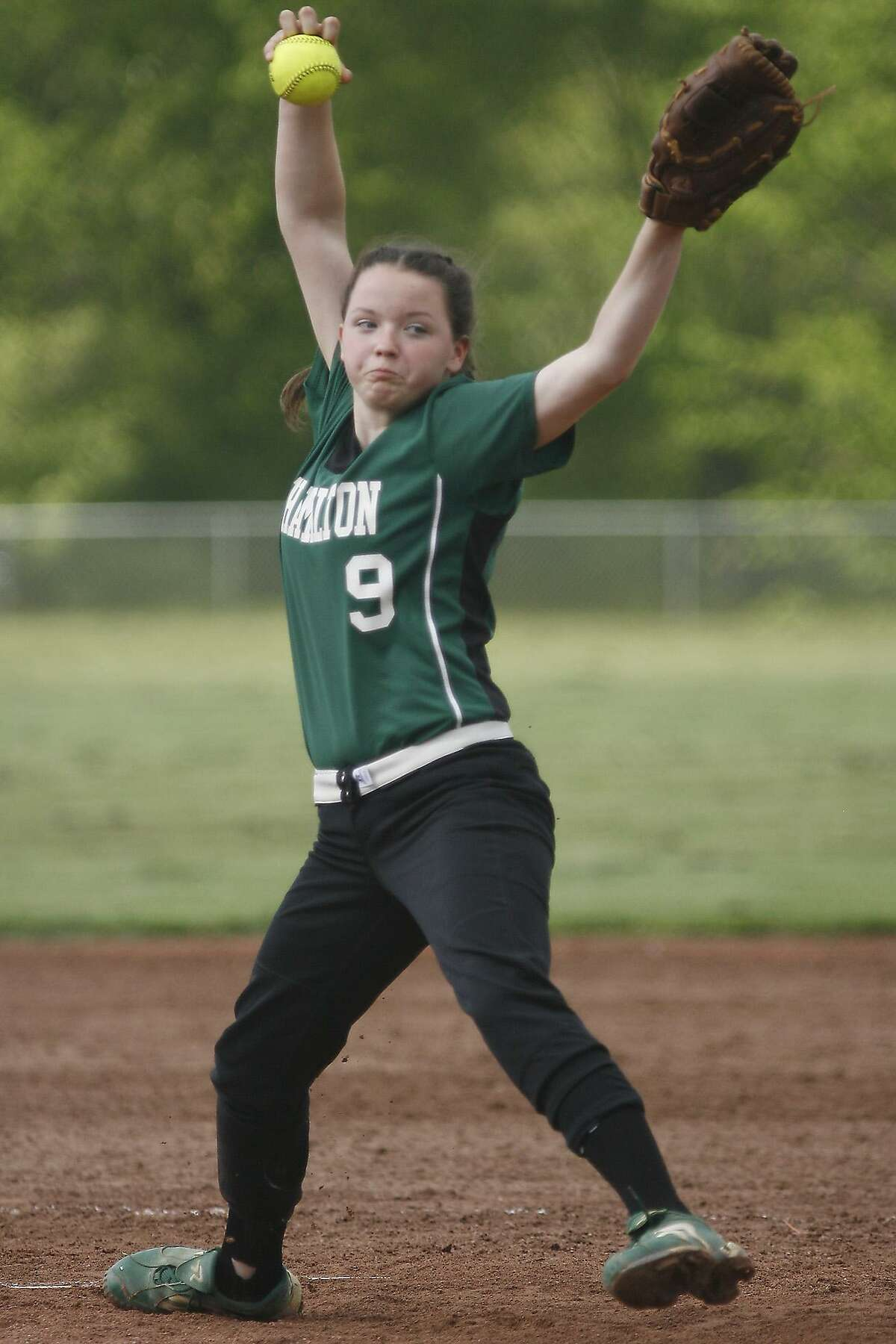 Dispatch File Photo by JOHN HAEGER Hamilton eighth grader Becca Rogers delivers a pitch to an Oriskany batter in a league game May 24, 2011. Rogers was named All-State First Team.