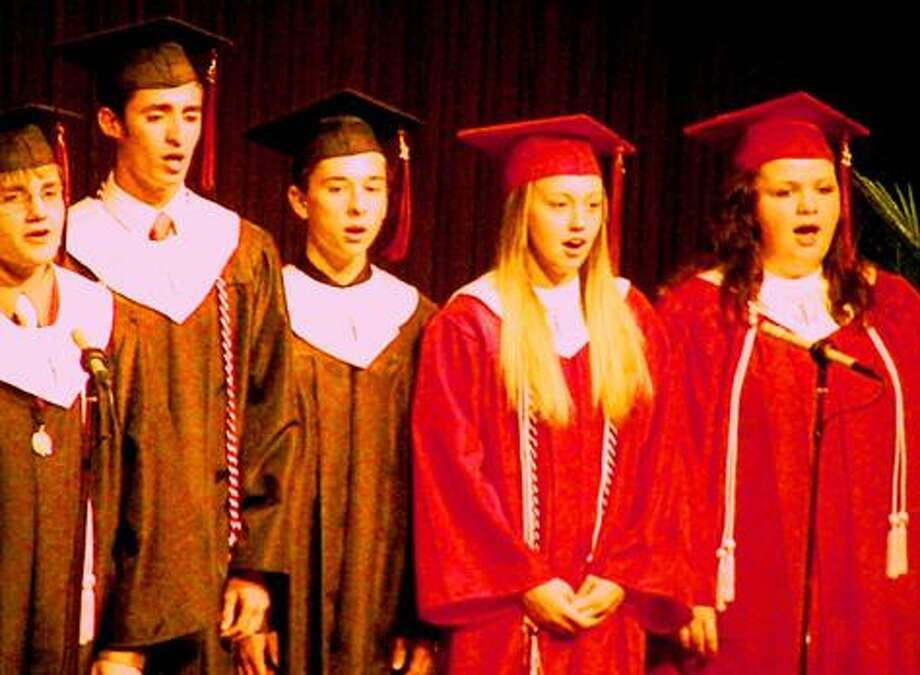 "Photo Special to the Dispatch by MIKE YEOMAN Select Choir sings ""Chittenango High School Alma Mater"" during ceremonies Friday."