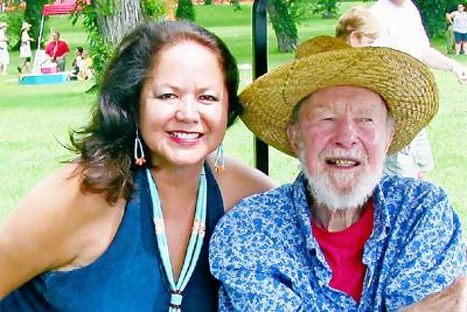 SUBMITTED PHOTO Joanne Shenandoah poses with Pete Seeger.