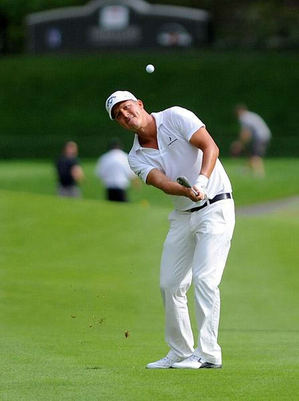 Cromwell--Fredrik Jacobson chips towards the 15th green. Photo-Peter Casolino/New Haven RegisterCas110626 6/26/11