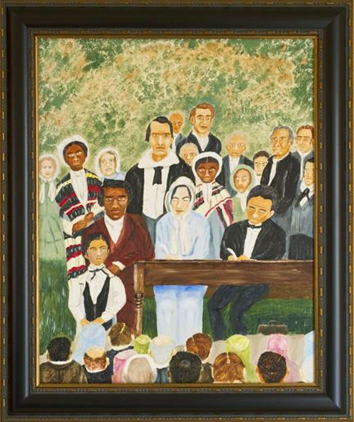 Photo Courtesy the Gerrit Smith EstateOil painting created by Bill Edmonston of the 1850 Cazenovia Convention organized to protest the Fugitive Slave Bill. Edmonston shares his responses to the protest in a program at the Gerrit Smith Estate National Historic Landmark in Peterboro at 2 p.m. on Sunday. Edmonston created an oil painting of the Cazenovia convention and he searches for a genealogical connection to two sisters who attended the meeting.