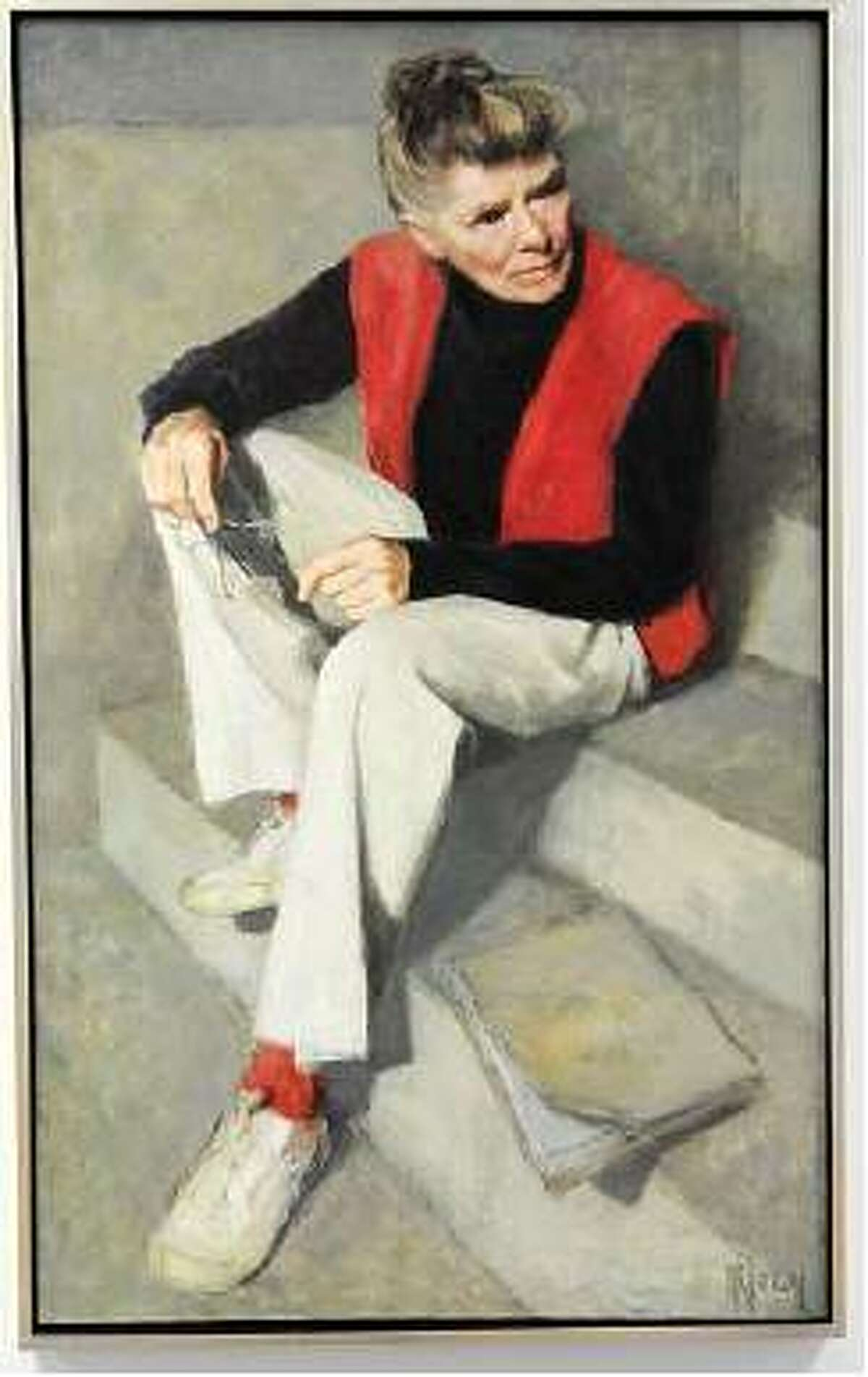A portrait of Katharine Hepburn by Canadian painter Myfanwy Pavelic that hangs in the Old Saybrook Historical Society's archives building. Mara Lavitt/Register