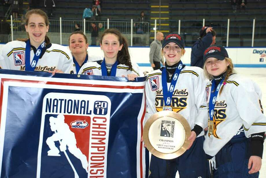 Katelyn Pantera, 14, Emma Farrel, 14, Lauren Ferraiuolo, 13, Ashley Carbone, 13, and Madison Jerolman, 13, were on the Mid-Fairfield Connecticut Stars hockey team, which won the 2011 USA Hockey Girls National Championship in Rochester, Mich. Contributed photo