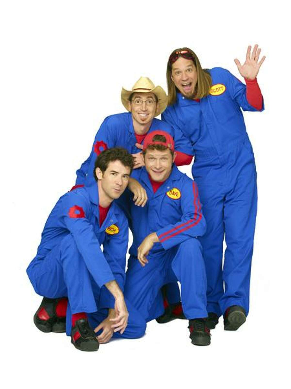 """IMAGINATION MOVERS - Rich Collins as """"Mover Rich,"""" Scott """"Smitty"""" Smith as """"Mover Smitty,"""" Dave Poche as """"Mover Dave"""" and Scott Durbin as """"Mover Scott"""" star in """"Imagination Movers"""" airing on Disney Channel. (DISNEY CHANNEL/BOB D'AMICO)"""