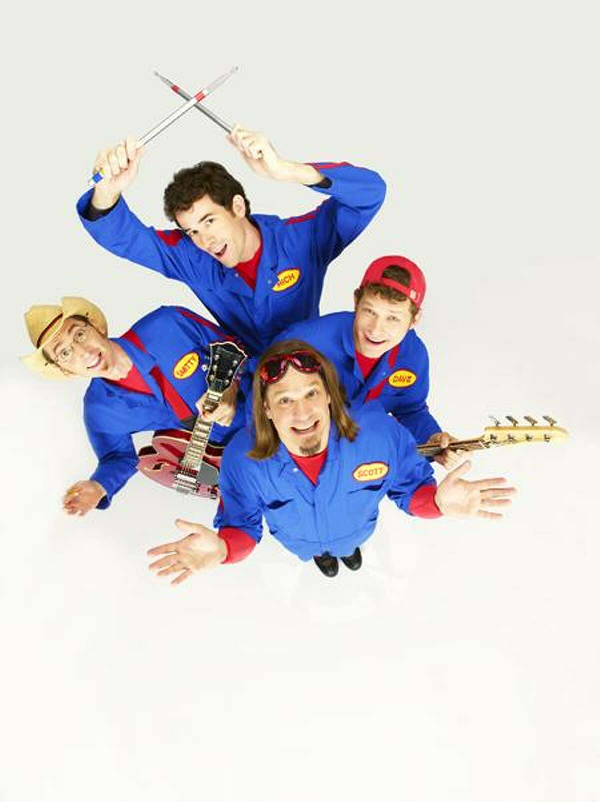 """IMAGINATION MOVERS - Scott """"Smitty"""" Smith as """"Mover Smitty,"""" Rich Collins as """"Mover Rich,"""" Dave Poche as """"Mover Dave"""" and Scott Durbin as """"Mover Scott"""" star in """"Imagination Movers"""" airing on Disney Channel. (DISNEY CHANNEL/BOB D'AMICO)"""