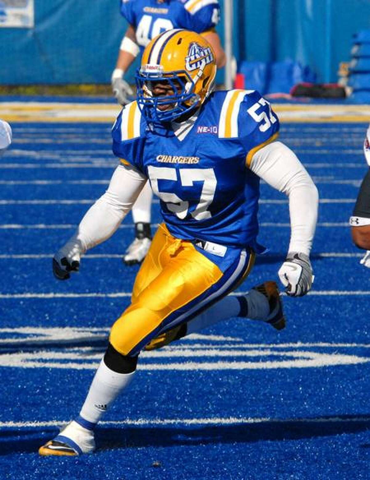 Charlie Hatchett, a 5-foot-11, 240-pounder out of Stratford High, is the top linebacker on a team that has set its sights on reaching the NCAA playoffs this year. (Photo courtesy of University of New Haven)