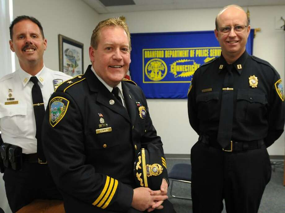 From left, Branford police Capt. Geoffrey Morgan, Deputy Chief Thomas Fowler and Capt. Kevin Halloran are seen in this file photo.