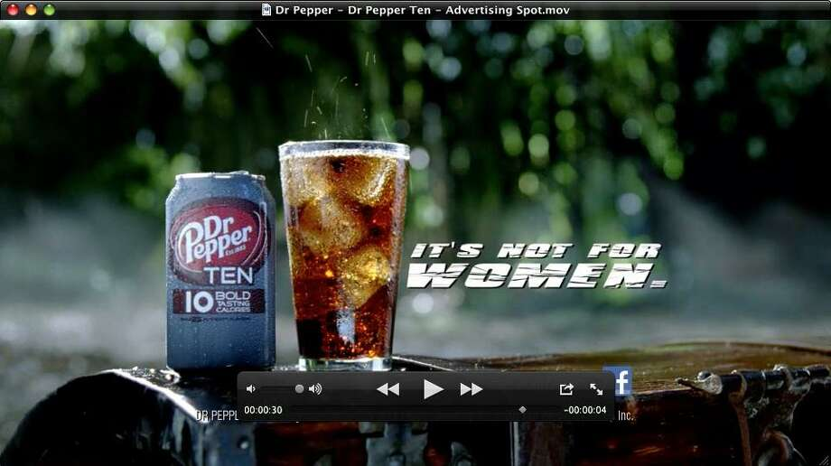 This video frame grab provided by the Dublin Dr Pepper Bottling Co., shows the new Dr Pepper Ten beverage. It's not often that a major brand tries to block out an entire segment of the population, but that's exactly what Dr Pepper is doing with the launch of its latest product. (AP Photo/Dublin Dr Pepper Bottling Co.) Photo: AP / Dublin Dr Pepper Bottling Co.