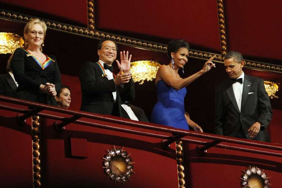 Associated Press Recipients of the 2011 Kennedy Center Honors, from left, actress Meryl Streep, and cellist Yo-Yo Ma, wave to the crowd with first lady Michelle Obama and President Barack Obama.