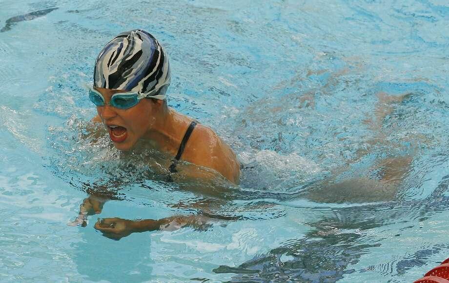 "Dispatch Staff Photo by JOHN HAEGER<a href=""http://twitter.com/oneidaphoto"">twitter.com/oneidaphoto</a>Katy Pownall ,12, of Hamilton swims the breast stroke in the meldy relay in Hamilton  on Thursday, Aug. 4, 2011."