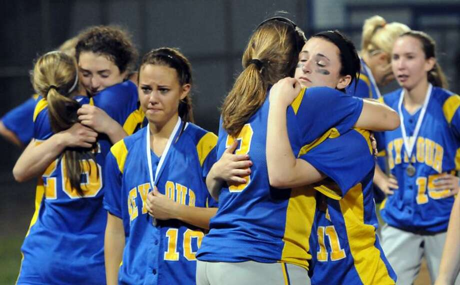 Class M softball finals at West Haven. Sacred Heart won over Seymour 4-3. Seymour reacts to its loss. Photo by Mara Lavitt/New Haven Register6/10/11