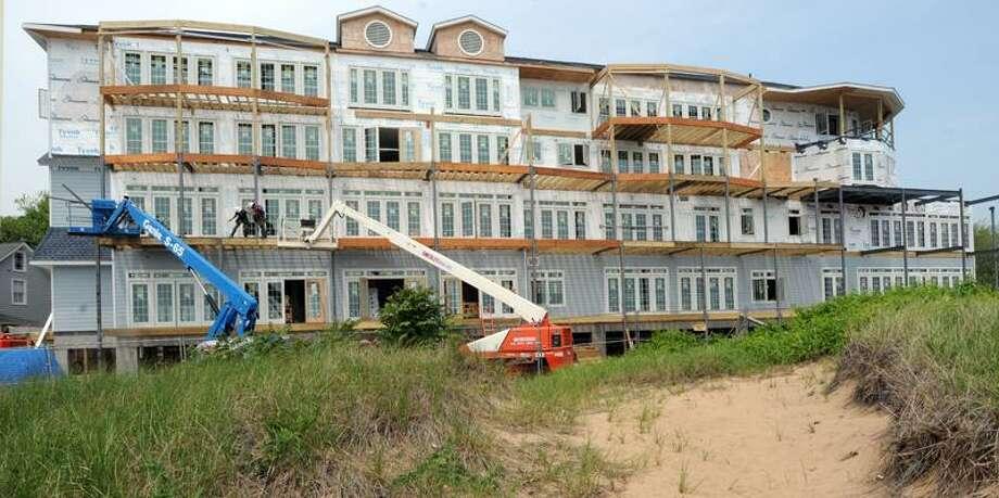 The Madison Beach Hotel in Madison is still under construction. Mara Lavitt/Register