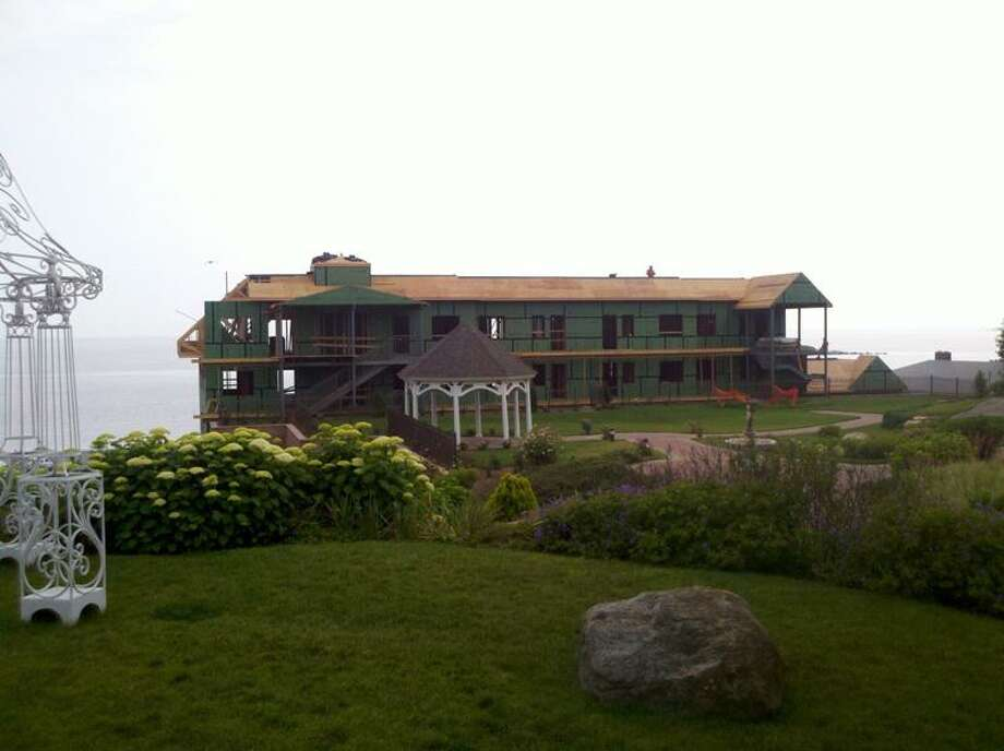 This photo, submitted by a recent bride, shows the partially constructed building blocking water views at Water's Edge Resort and Spa in Westbrook at the time of her wedding in June.