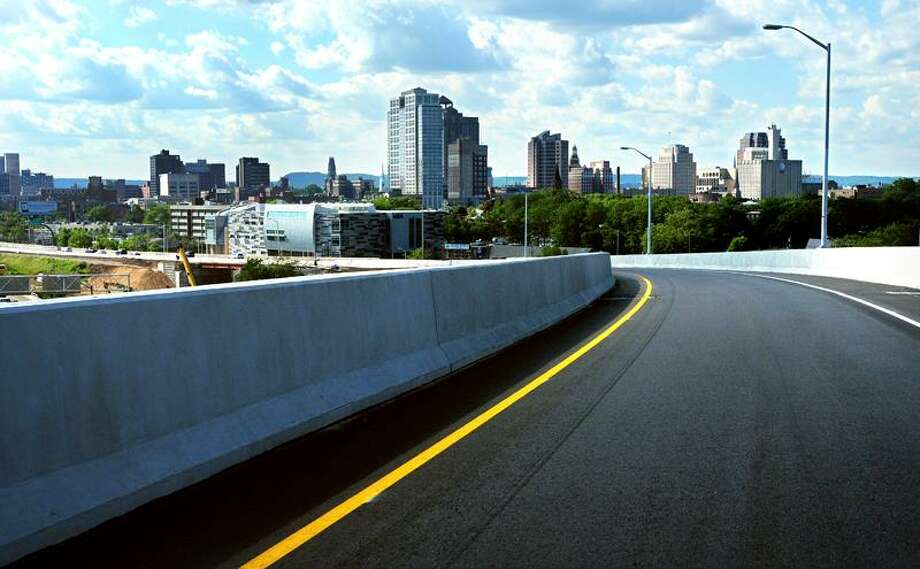 The New Haven skyline comes into view going over the Route 34 flyover ramp Monday. (Arnold Gold/Register) Photo: Arnold Gold Hearst Connecticut Media File Photo
