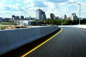 The New Haven skyline comes into view going over the Route 34 flyover ramp.