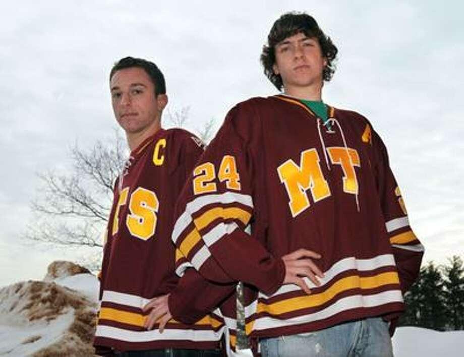 Sheehan High School (Wallingford) hockey captains Aaron Grimaldi left and Nick Capozzi right. Photo by Mara Lavitt/New Haven Register2/7/11
