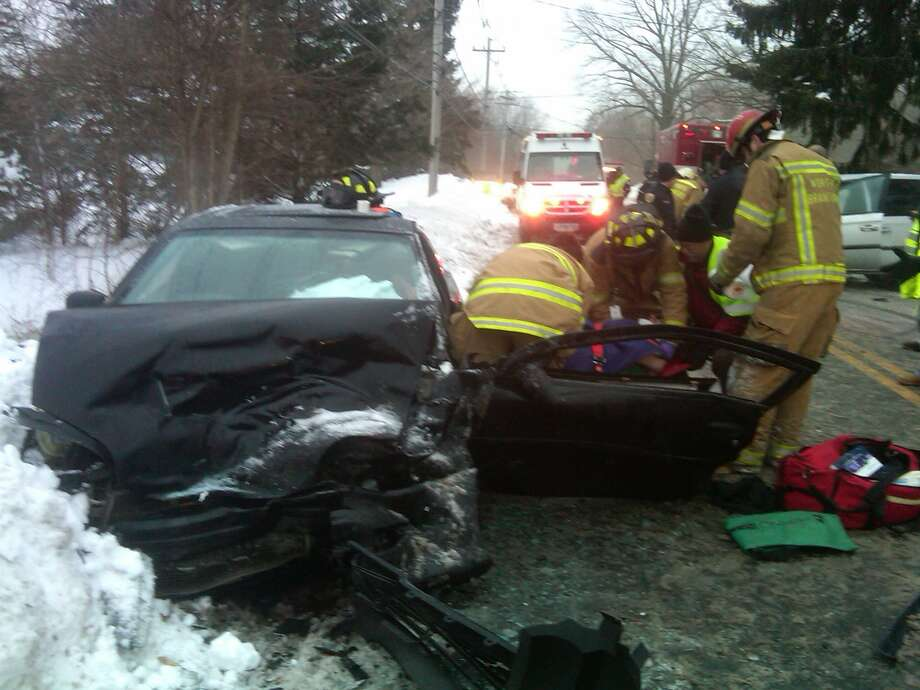 Emergency workers at scene of crash. Photo courtesy North Branford Fire Department.
