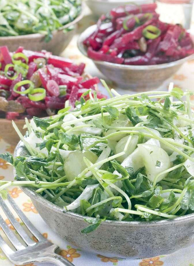 Larry Crowe/Associated Press, Fennel, Pea Shoot and Green Grape Slaw and Beet Slaw