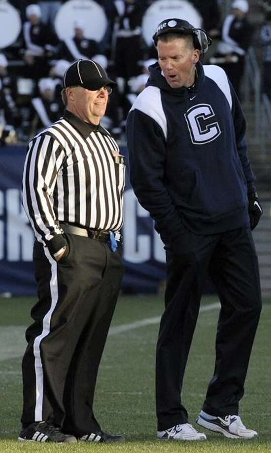 Connecticut head coach Randy Edsall speaks to an official during the second half of Connecticut's 38-17 victory in their NCAA football game against Cincinnati in East Hartford, Conn., on Saturday, Nov. 27, 2010. (AP Photo/Fred Beckham) Photo: AP / FR153656 AP