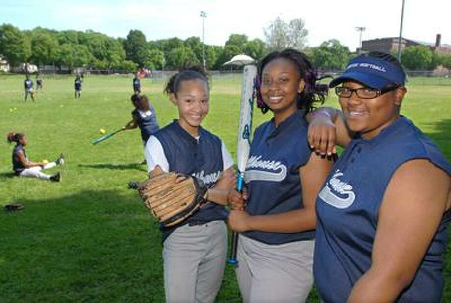 From left, Hillhouse softball captains Jeannie Strother, Takia Thomas and Shequita Baker.
