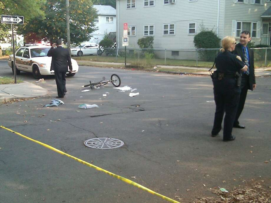 The scene of a shooting in New Haven today.