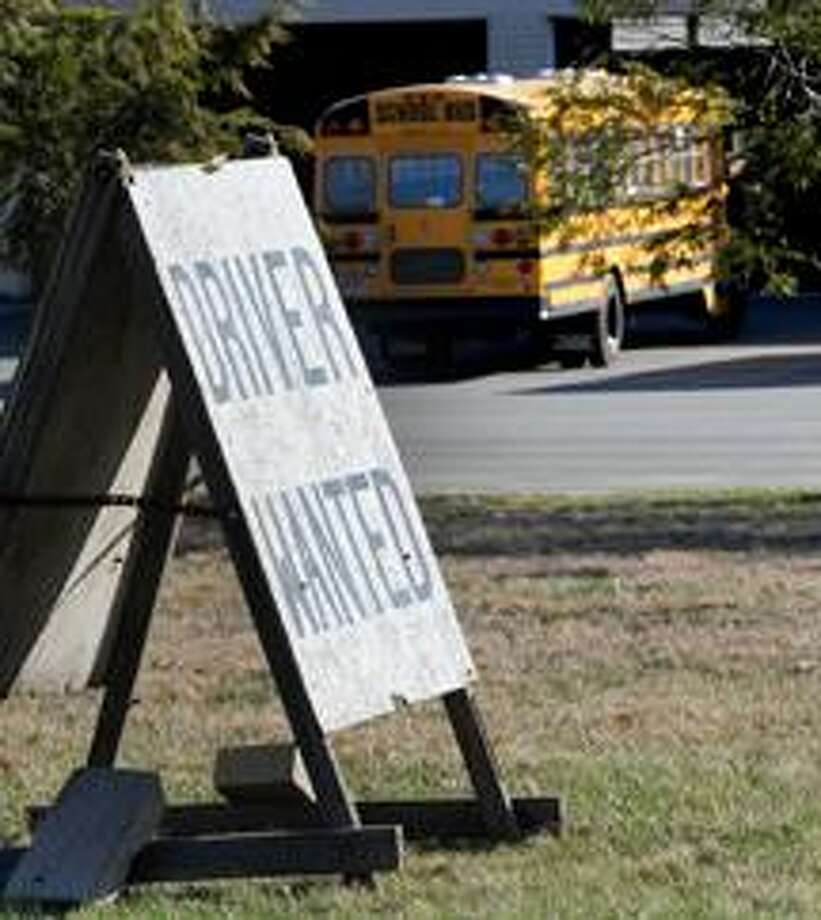 The Winkle Bus Co office at 121 Quinnipiac Ave in North Haven advertises for school bus drivers. (VM Williams/Register)