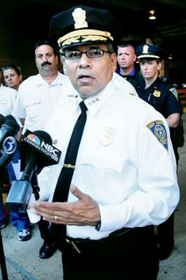 New Haven Police Chief Frank Limon talks about the weekend shootout and some of the steps police will take going forward in New Haven's entertainment district during a press conference on Crown St. in New Haven. (Arnold Gold/Register Staff)