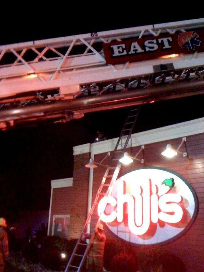Firefighters work the scene at Chili's Grill & Bar on Frontage Road Thursday night in East Haven. Photo courtesy of Joseph Ciscone, East Haven Fire Department