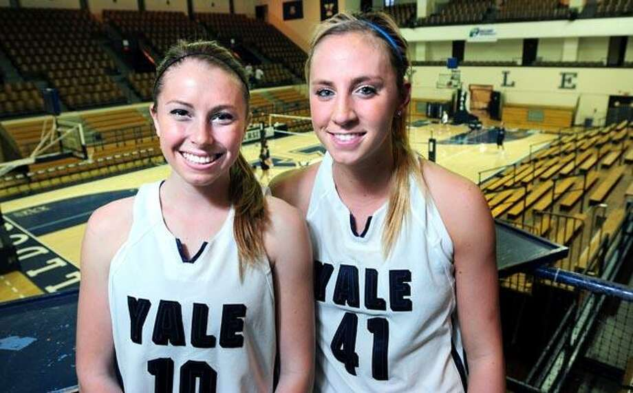 Yale basketball captains Yoyo Greenfield (left) and Mady Gobrecht are photographed at Yale's Lee Amphitheater in New Haven on 11/18/2010.Photo by Arnold Gold    AG0393C