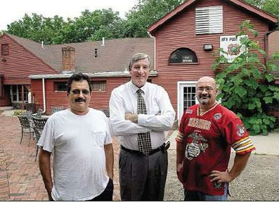 Fromleft, LarrySantamaria,commanderof Veterans of ForeignWarsPost7666; Stephen Spurrell, project coordinator; and Ed Bartlett, fundraising coordinator, are hoping to raise enough money to build a new post building in Guilford. (Peter Casolino/Register)