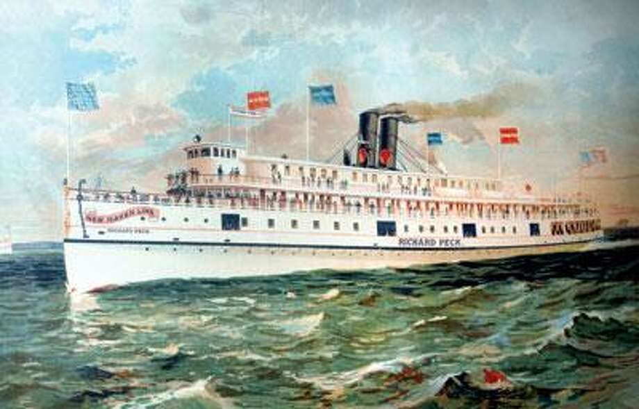 """This 1899 lithograph from the New Haven Steamboat Co. shows the Richard Peck, a passenger steamboat built in 1892. The portraits shown here are part of an ongoing exhibit, """"Maritime New Haven,"""" at the New Haven Museum and Historical Society."""