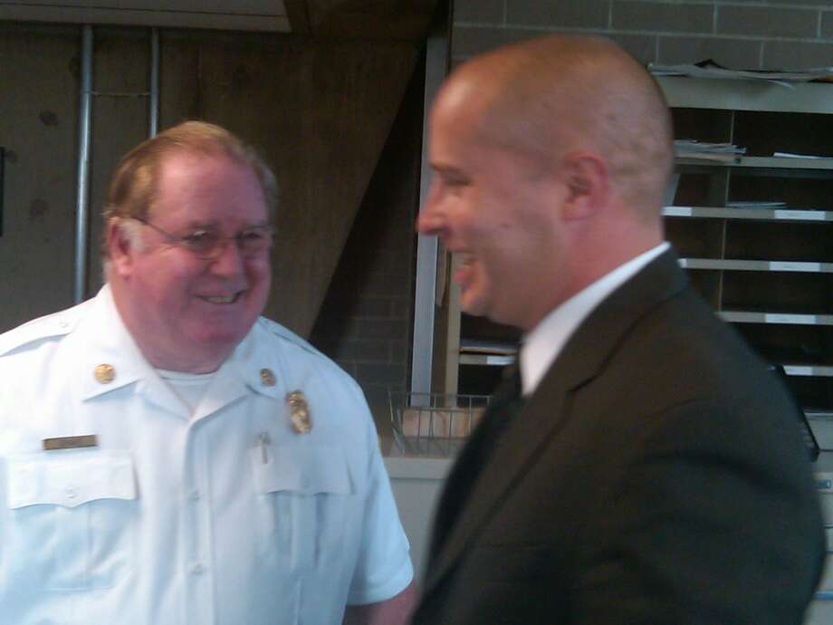 New Haven Fire Chief Michael Grant, left, and new Assistant Chief of Administration Patrick Egan.