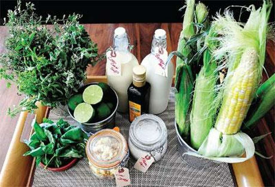 The ingredients for the Cool Corn & Buttermilk Soup at the Heirloom Restaurant in New Haven. (Arnold Gold/Register)