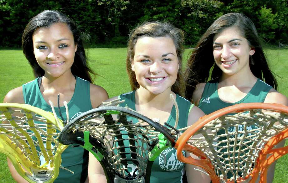 From left, Hamden Hall lacrosse captains Jen Piselli, Cameron Griffin and Alicia Reynolds. (Arnold Gold/Register)