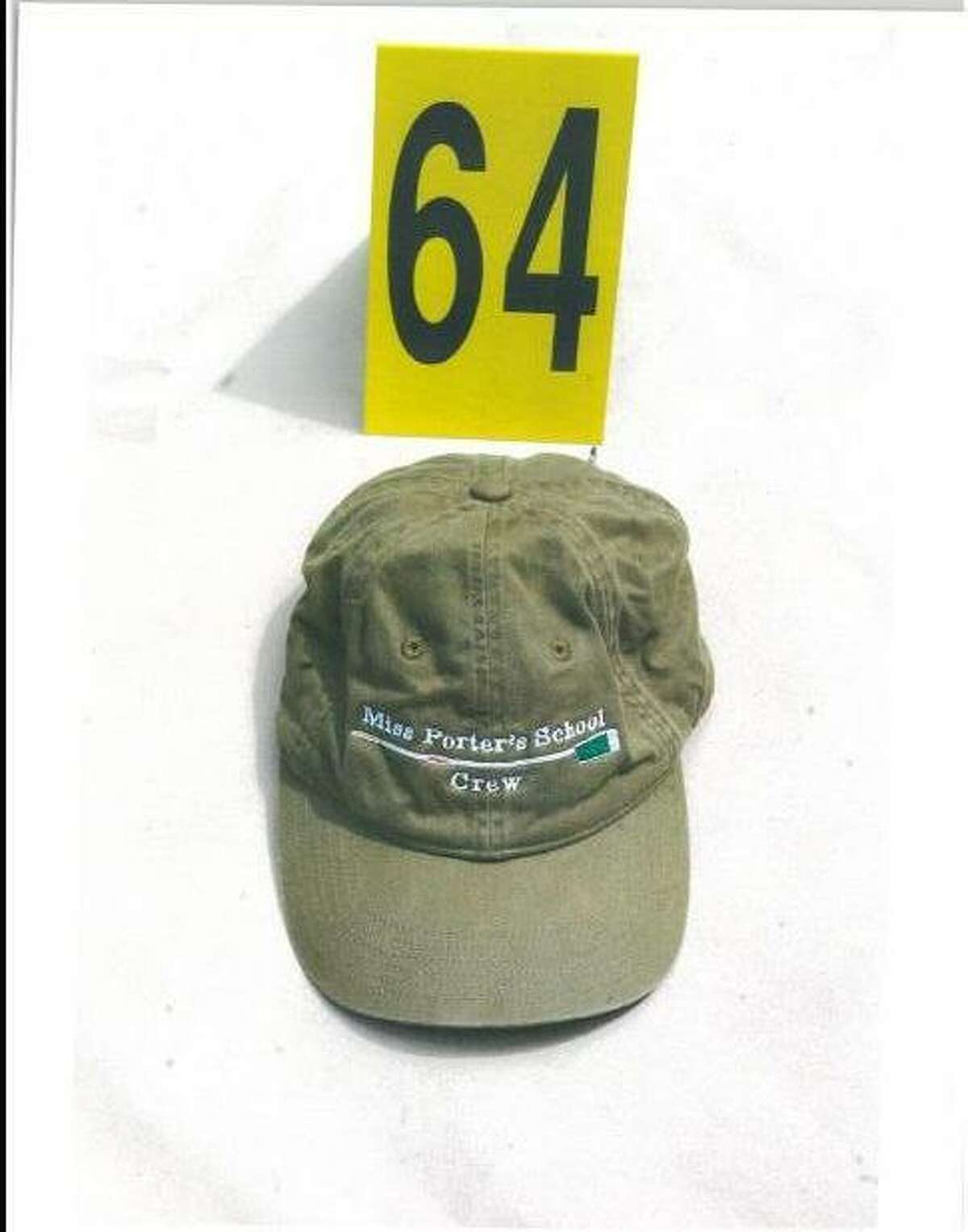 This is a hat that belonged to Hayley Petit, 17, who attended Miss Porter's School and was a member of the crew team. Suspect Steven J. Hayes was wearing the hat when he was arrested, according to testimony in the Cheshire triple homicide trial. (Evidence photo from state Judicial Branch)