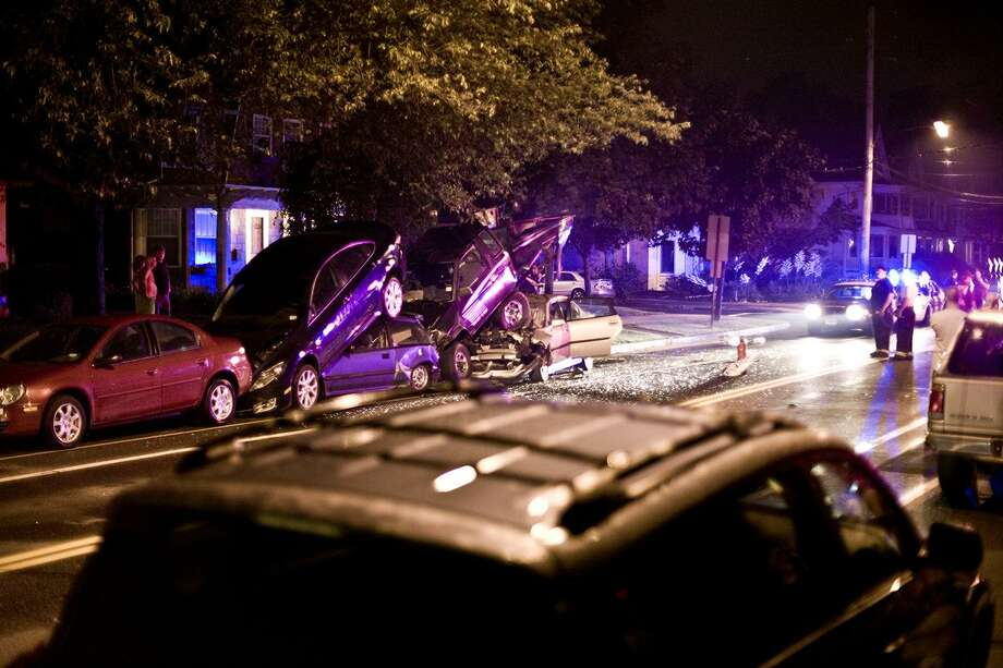 Scene of the crash at Orange and Linden streets. Thomas Nguyen-Phuoc/for the Register