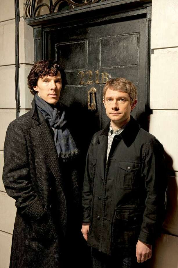 "Benedict Cumberbatch plays Sherlock Holmes and Martin Freeman is Dr. Watson in the Sunday ""Masterpiece Mystery!"" PBS photo."