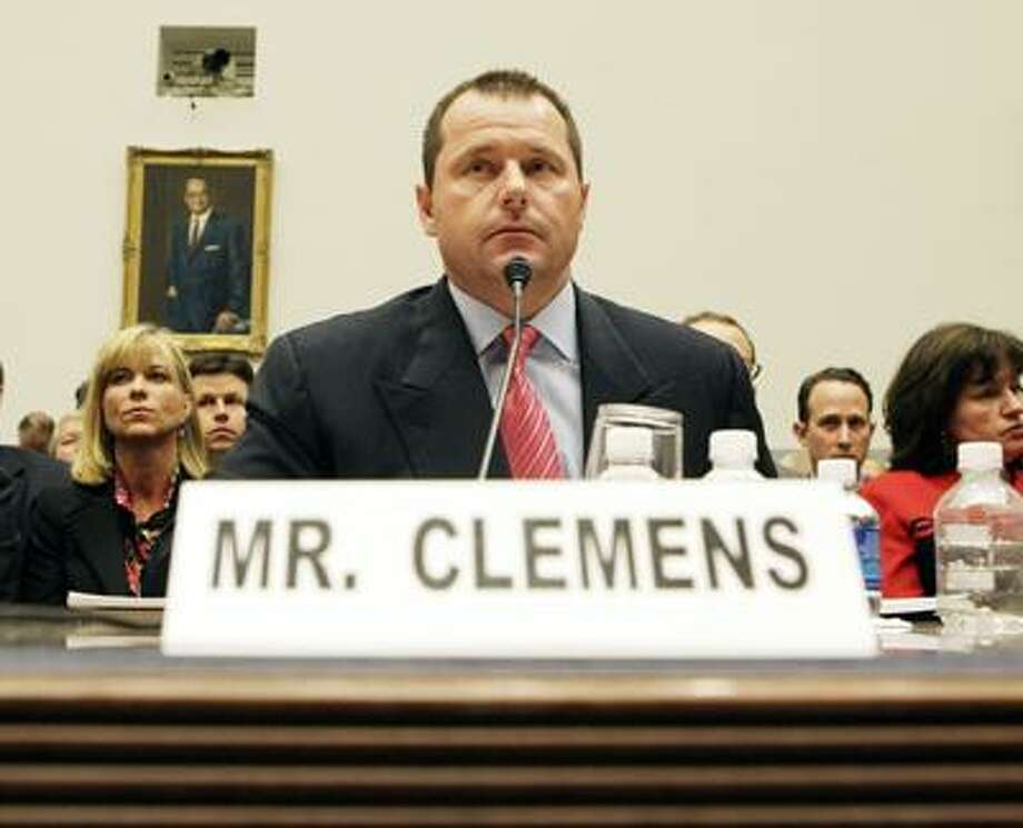 Former New York Yankees baseball pitcher Roger Clemens testifying before the House Oversight, and Government Reform Committee on Capitol Hill in Washington. The New York Times reported on its website Thursday, Aug. 19, 2010,  that federal authorities have decided to indict Roger Clemens on charges of making false statements to Congress about his use of performance-enhancing drugs.  Clemens and his former trainer, Brian McNamee, testified under oath at a hearing before a House committee and contradicted each other about whether Clemens had used the banned substances. (AP Photo/Pablo Martinez Monsivais, File) Photo: AP / AP2008