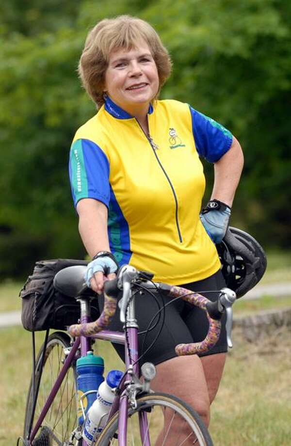 Holly Edwards of Guilford, 63, is biking 1600 miles in a group ride from Washington to North Dakota to fundraise for the Juvenile Diabetes Research Foundation. (PETER HVIZDAK/Register)