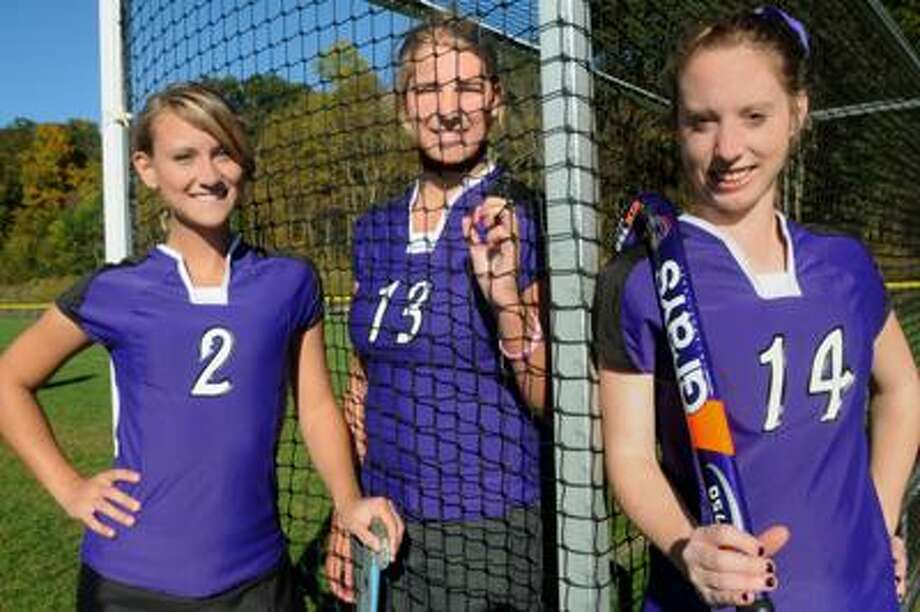 Westbrook field hockey captains, from left, Meagan Cote, Arianna Cote and Rachael Benisvy. (Melanie Stengel/Register)