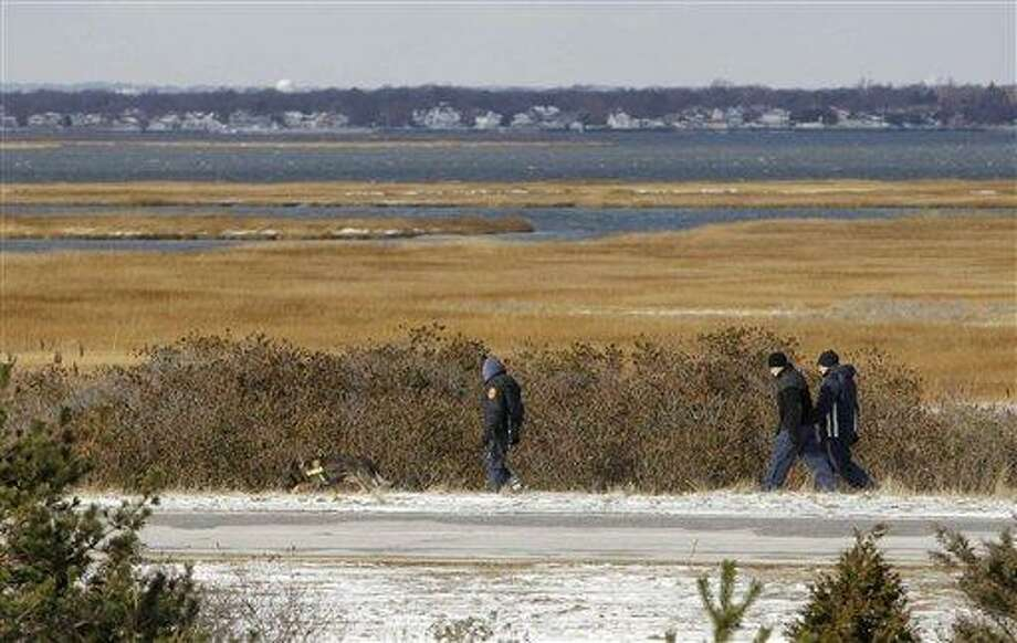 Authorities search in the brush by the side of the road at Cedar Beach, near Babylon, N.Y., Tuesday, Dec. 14, 2010. Police looking for a missing prostitute on Long Island's Fire Island have discovered three bodies and a set of skeletal remains near Oak Beach since Saturday. Investigators are considering the possibility that a serial killer may have dumped four bodies along the same quarter-mile stretch of beachside road, a police chief said Tuesday. (AP Photo/Seth Wenig) Photo: AP / AP