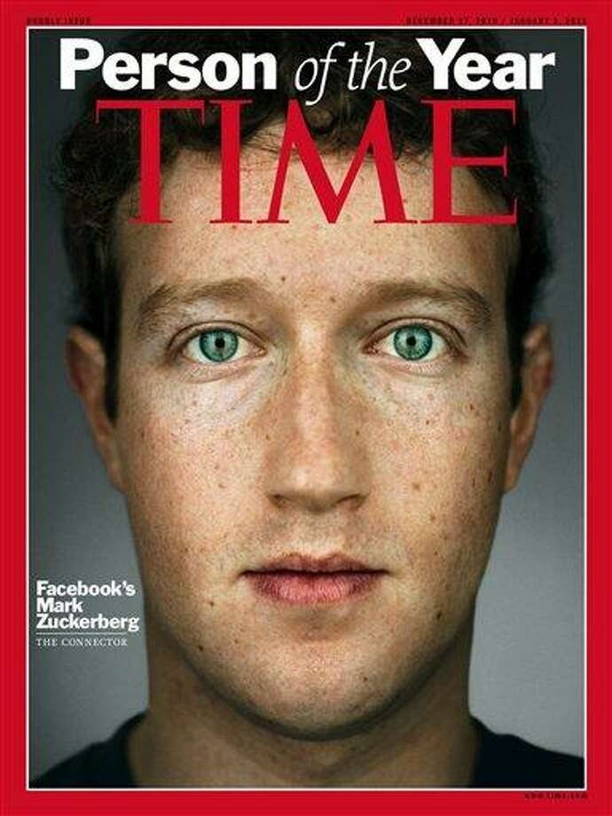 "This image released by Time Magazine, Wednesday, Dec. 15, 2010, shows the cover for Time magazine's 2010 ""Person of the Year"" issue, featuring Facebook founder and CEO Mark Zuckerberg. (AP Photo/Time Magazine) Photo: AP / Time Inc."
