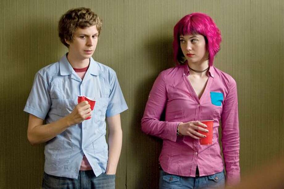 """Kerry Hayes/Universal Pictures photo, Michael Cera and Mary Elizabeth Winstead in a scene from """"Scott Pilgrim vs. the World,"""" which opens here Friday."""