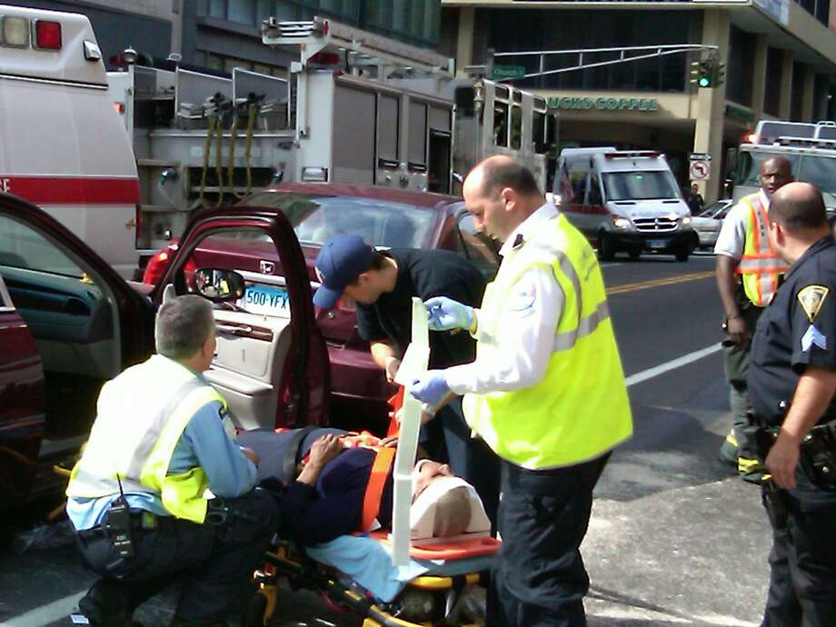 The scene of a crash Tuesday on Chapel Street in New Haven. Four people were injured. Photo by William Kaempffer
