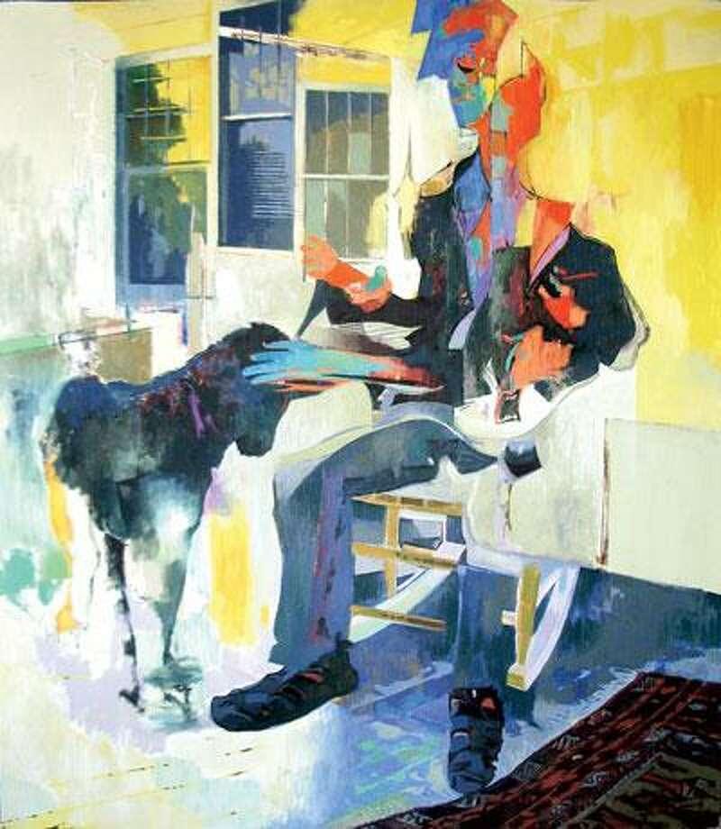 """Man & Dog (Bruce & Jackie),"" an acrylic by Steve DiGiovanni. (Da Silva Gallery)"