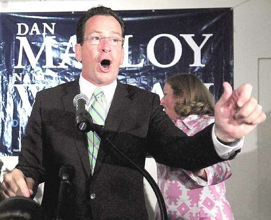 Dan Malloy addresses his supporters Tuesday night at the City Steam Brewery Cafe in Hartford following his victory in the Democratic gubernatorial primary. (Brad Horrigan/Register)