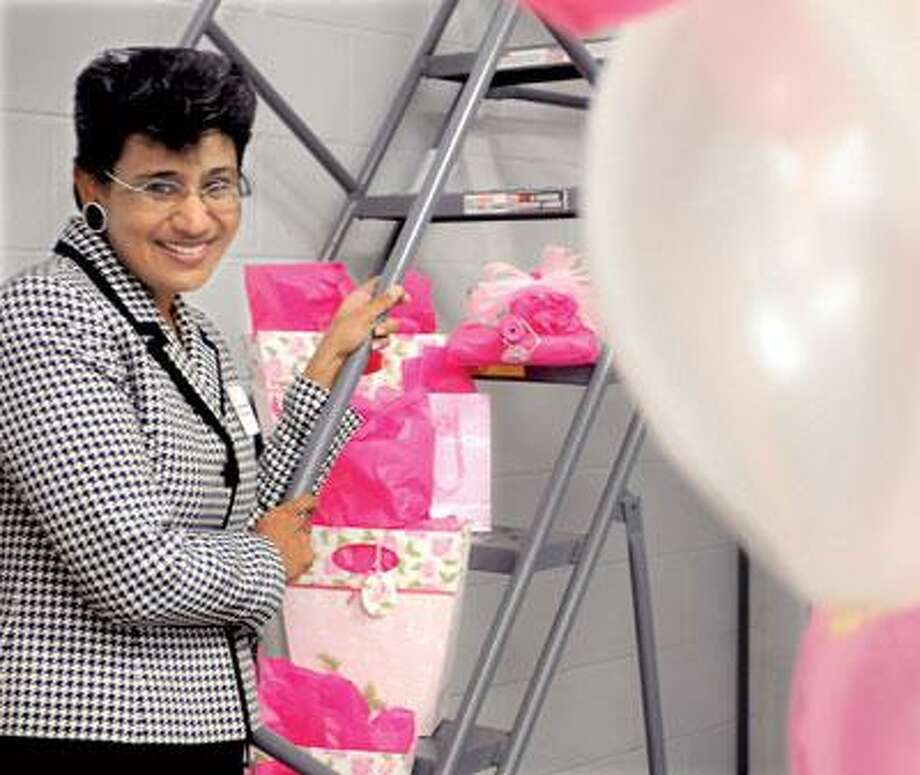 Dr. Anees B. Chagpar, the new director of the Yale Breast Center at Smilow Cancer Hospital at Yale-New Haven Hospital, was at BJ's Wholesale Club in Wallingford Wednesday for a breast cancer fundraiser. (Melanie Stengel/Register)