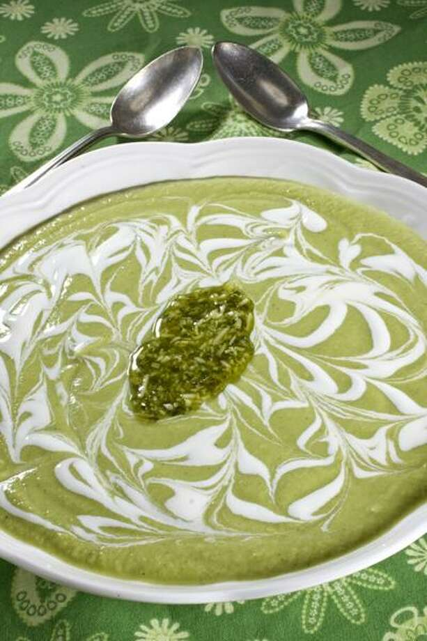 Chilled zucchini and green bean soup with a pesto swirl. Larry Crowe/Associated Press Photo: ASSOCIATED PRESS / AP2010