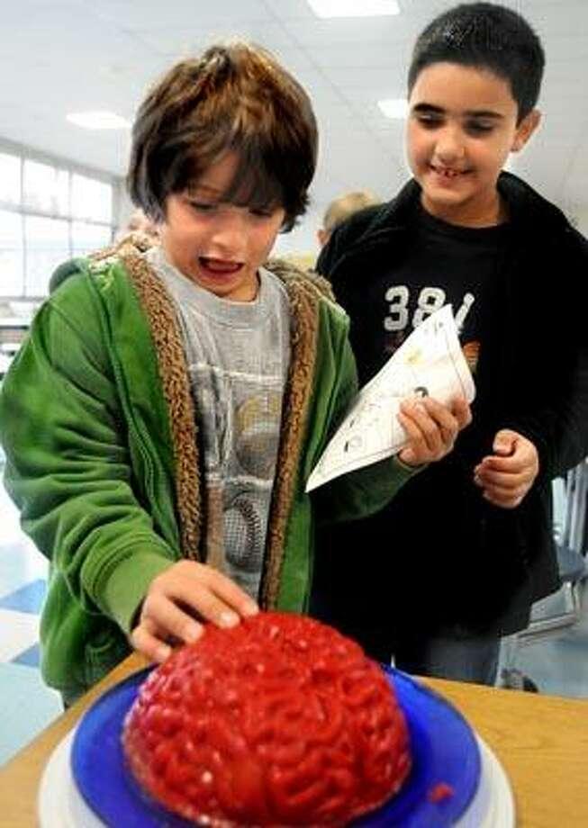 """(ms101610)-a 2nd grader at Green Acres Elemenrary School in North Haven, touches a jello replica of a human brain during the school's """"Walk this Way"""" program.  Looking on is classmate .  The brain was a reminder of the need to wear a helmet.     Melanie Stengel/Register"""