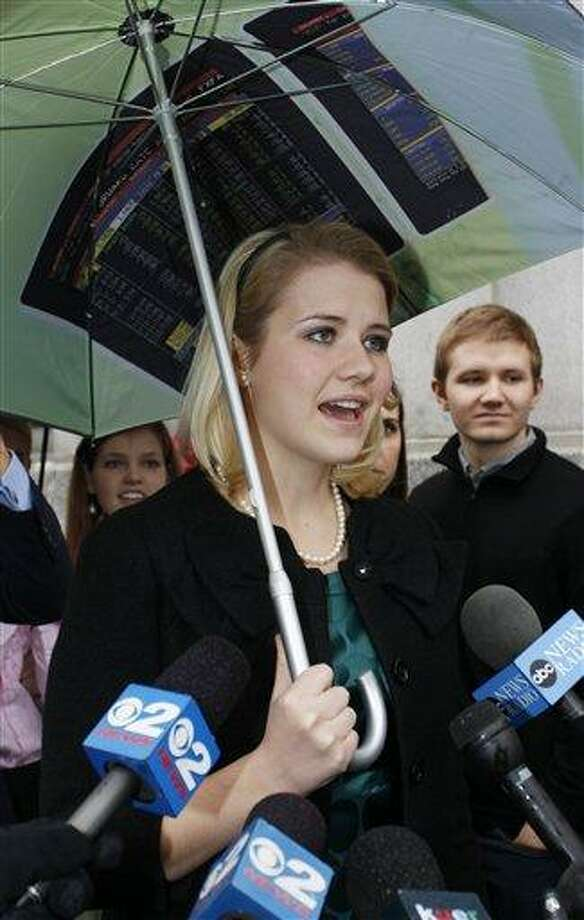 Elizabeth Smart speaks to the media following the guilty verdict in the Brian David Mitchell trail outside the federal court house Friday, Dec. 10 2010 in Salt Lake City. Mitchell was found guilty for the June 5 2002 kidnapping of Elizabeth Smart. (AP Photo/Colin E Braley) Photo: AP / AP Photo/Colin E. Braley